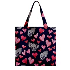 Elephant Lover Hearts Elephants Zipper Grocery Tote Bag by BubbSnugg