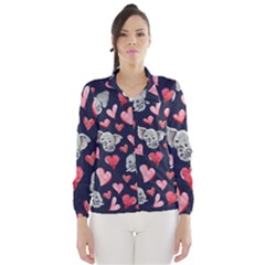 Elephant Lover Hearts Elephants Wind Breaker (women) by BubbSnugg