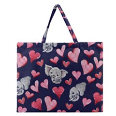 Elephant Lover Hearts Elephants Zipper Large Tote Bag by BubbSnugg