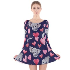 Elephant Lover Hearts Elephants Long Sleeve Velvet Skater Dress by BubbSnugg