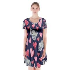Elephant Lover Hearts Elephants Short Sleeve V Neck Flare Dress by BubbSnugg