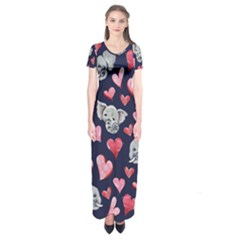 Elephant Lover Hearts Elephants Short Sleeve Maxi Dress by BubbSnugg