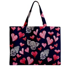 Elephant Lover Hearts Elephants Medium Tote Bag by BubbSnugg