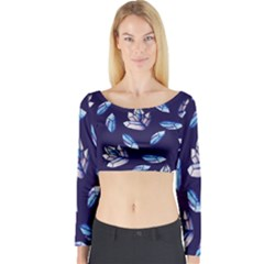 Mystic Crystals Witchy Vibes  Long Sleeve Crop Top by BubbSnugg