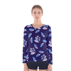 Mystic Crystals Witchy Vibes  Women s Long Sleeve Tee by BubbSnugg