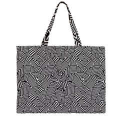 Modern Intricate Optical Zipper Large Tote Bag by dflcprints