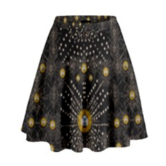 Lace Of Pearls In The Earth Galaxy Pop Art High Waist Skirt by pepitasart