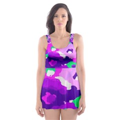 Violet Blossoms Skater Dress Swimsuit by beatbeatwing