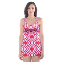 60s Retro Print Designs 5 Skater Dress Swimsuit by beatbeatwing