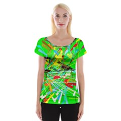 Colorful Painting On A Green Background              Women s Cap Sleeve Top by LalyLauraFLM