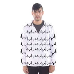 Black And White Wavy Stripes Pattern Hooded Wind Breaker (men) by dflcprintsclothing