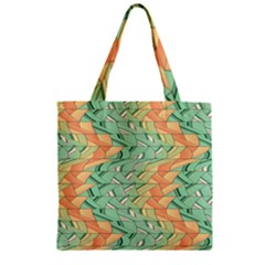 Emerald And Salmon Pattern Zipper Grocery Tote Bag by linceazul