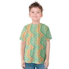 Emerald And Salmon Pattern Kids  Cotton Tee by linceazul