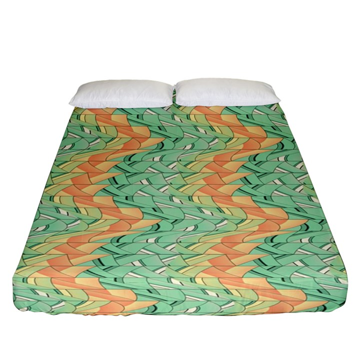Emerald And Salmon Pattern Fitted Sheet (Queen Size)