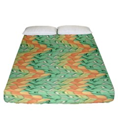Emerald And Salmon Pattern Fitted Sheet (king Size) by linceazul