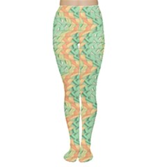 Emerald And Salmon Pattern Women s Tights by linceazul