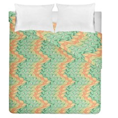 Emerald And Salmon Pattern Duvet Cover Double Side (queen Size) by linceazul