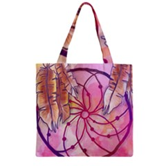 Watercolor Cute Dreamcatcher With Feathers Background Zipper Grocery Tote Bag by TastefulDesigns