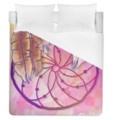 Watercolor Cute Dreamcatcher With Feathers Background Duvet Cover (queen Size) by TastefulDesigns