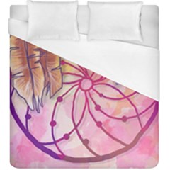 Watercolor Cute Dreamcatcher With Feathers Background Duvet Cover (king Size) by TastefulDesigns