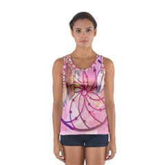 Watercolor Cute Dreamcatcher With Feathers Background Women s Sport Tank Top  by TastefulDesigns