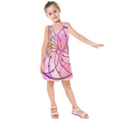 Watercolor Cute Dreamcatcher With Feathers Background Kids  Sleeveless Dress by TastefulDesigns