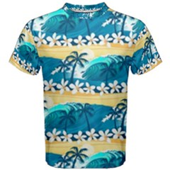 Tropical Surfing Palm Tree Men s Cotton Tee