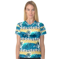 Tropical Surfing Palm Tree Women s V Neck Sport Mesh Tee by pushu