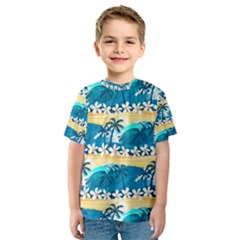 Tropical Surfing Palm Tree Kids  Sport Mesh Tee