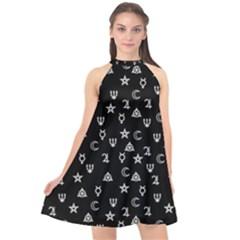 Witchcraft Symbols  Halter Neckline Chiffon Dress  by Valentinaart