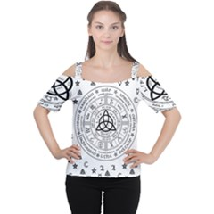 Witchcraft Symbols  Women s Cutout Shoulder Tee by Valentinaart