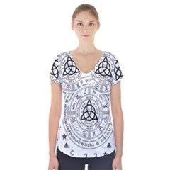 Witchcraft Symbols  Short Sleeve Front Detail Top by Valentinaart