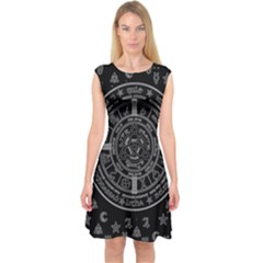 Witchcraft Symbols  Capsleeve Midi Dress