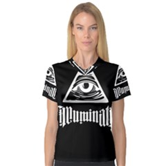 Illuminati Women s V Neck Sport Mesh Tee by Valentinaart