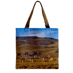 Group Of Vicunas At Patagonian Landscape, Argentina Grocery Tote Bag by dflcprints