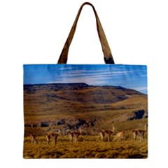 Group Of Vicunas At Patagonian Landscape, Argentina Medium Tote Bag by dflcprints
