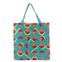 Semicircles And Arcs Pattern Grocery Tote Bag by linceazul