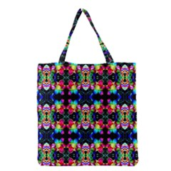 Colorful Bright Seamless Flower Pattern Grocery Tote Bag by Costasonlineshop