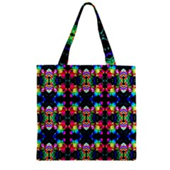 Colorful Bright Seamless Flower Pattern Zipper Grocery Tote Bag by Costasonlineshop
