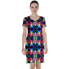 Colorful Bright Seamless Flower Pattern Short Sleeve Nightdress by Costasonlineshop