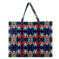 Colorful Bright Seamless Flower Pattern Zipper Large Tote Bag by Costasonlineshop