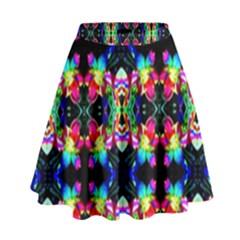 Colorful Bright Seamless Flower Pattern High Waist Skirt by Costasonlineshop