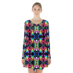 Colorful Bright Seamless Flower Pattern Long Sleeve Velvet V Neck Dress