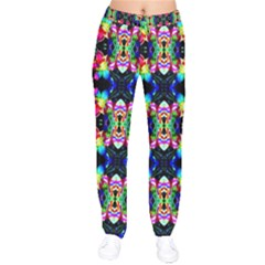 Colorful Bright Seamless Flower Pattern Drawstring Pants