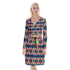 Colorful Bright Seamless Flower Pattern Long Sleeve Velvet Front Wrap Dress by Costasonlineshop