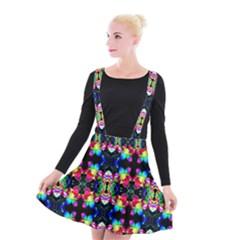 Colorful Bright Seamless Flower Pattern Suspender Skater Skirt