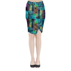Abstract Square Wall Midi Wrap Pencil Skirt