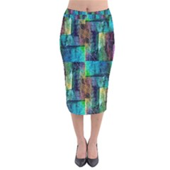 Abstract Square Wall Velvet Midi Pencil Skirt