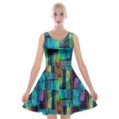 Abstract Square Wall Velvet Skater Dress