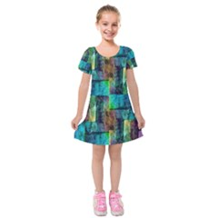 Abstract Square Wall Kids  Short Sleeve Velvet Dress